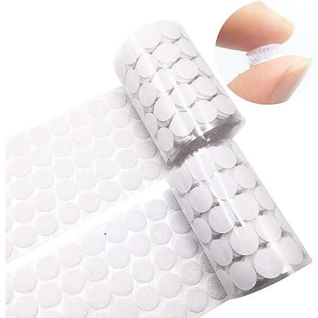 Arlent Crochet et Boucle adhésifs, 504Paires 10mm Autocollantes Crochets et Boucles Rond Pastille Adhesive Collant Point Monnaies arrière, Autocollantes Points Arrière Dots Coins (Blanc)