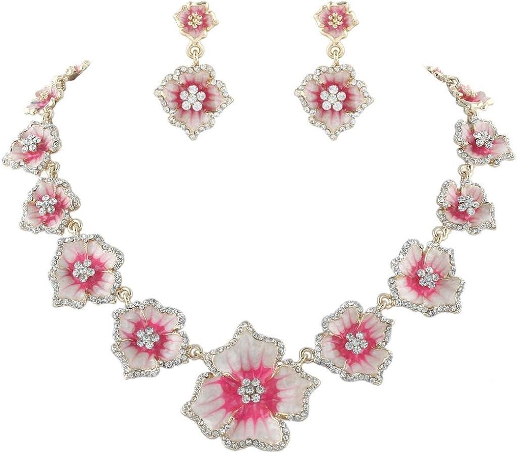 EVER FAITH Women's Austrian Crystal Enamel Hibiscus Necklace Earrings Set Gold-Tone