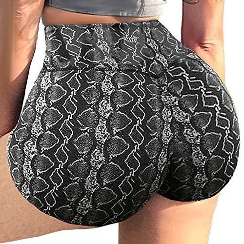 Marijee - Pantalones cortos para mujer, pantalones cortos para yoga, fitness, cintura alta, elásticos y cómodos Negro L