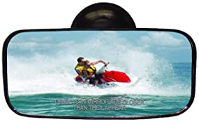"""CIPA 11050 Suction Cup Marine Mirror Black, 8"""" W x 4"""" H"""