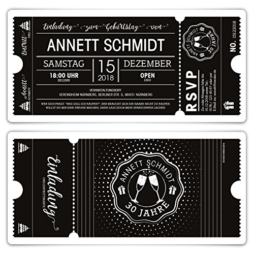 30 x Geburtstag Einladungen Einladungskarten Eintrittskarten - Schwarz-Weiß Ticket schwarze Version