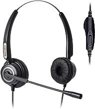 Binaural Headset with Volume and Mute Switch,Work with Mitel, Nortel, Avaya Digital, Polycom VVX, Shoretel,Allworx AltiGen Aastra Fanvil Digium Siemens + Many More Phones