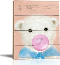 BOLUO Cute Baby Animals Bear Wall Art Painting Framed Canvas Painting Blowing Bubbles Prints Pictures Nursery Children Kids Room Decor 12x16in (Bear)
