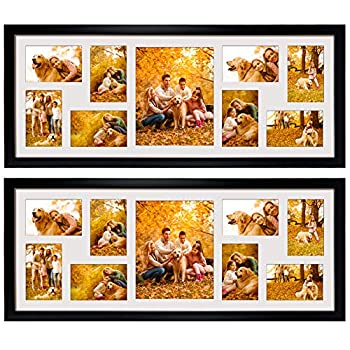 2 Pack 4x6 Picture Frames Collage with 9 Openings Display Eight 4 x 6 Pictures and One 8x10 Photos for Wall Mounting Black