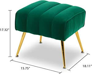 Altrobene Velvet Upholstered Ottoman, Modern Tufted Footrest with Gold Finished Mental Legs, Green