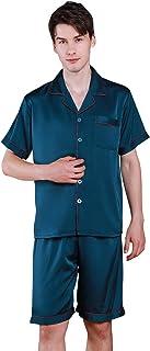 YAOMEI Mens Pyjamas Set Satin, 2021 Mens Silky Short Sleeve Nighties Couples PJ Set Sleepwear Nightwear, Luxury Lingerie B...
