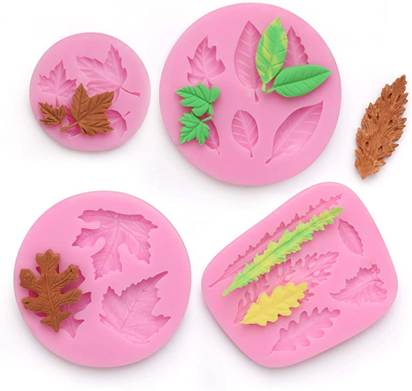 Leaf Fondant Mold Beasea 4pcs Maple Pattern Mold Candy Chocolate Cake Decorating Molds For Sugar Craft Polymer Clay
