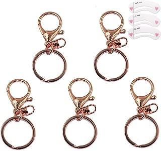 Coobbar 5pcs Rose Gold Lobster Clasp Trigger Clip Key Ring Charms Split Ring