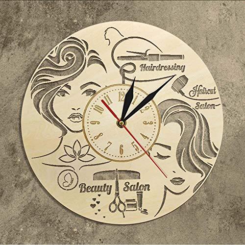 yrfchgj Reloj De Pared De Madera para Peluquería De Salón De Corte De Pelo para Mujer Decoración Rústica para El Hogar Arte De Pared Peluquería Letrero De Salón De Belleza Reloj De Pared Decorativo