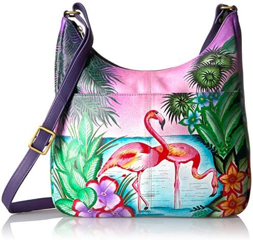 Anna by Anuschka Handpainted Leather Medium Shopper Bag tropical Flamingo product image
