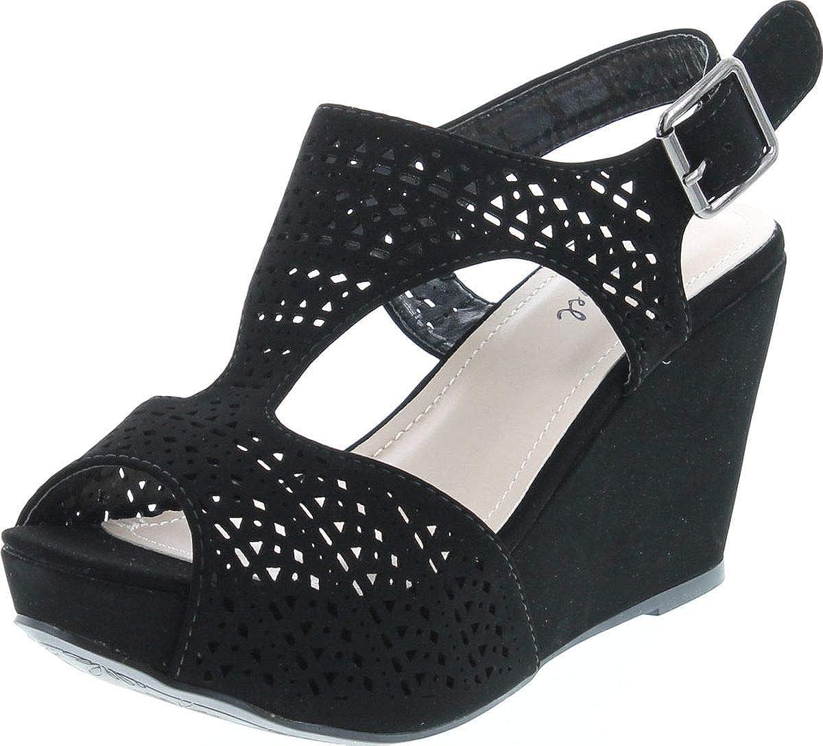 Bonnibel Women's Platform Wedge Heel Cut Out Sling Back Sandals