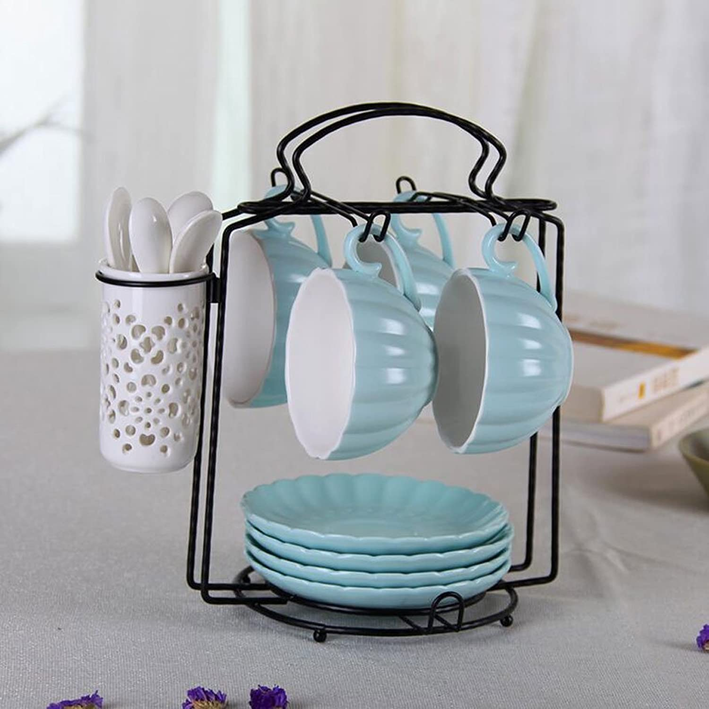 Creative Afternoon Tea noir Tea en céramique tasse à café combinaison 4 tasses avec coupe cuillère titulaire Tasses à thé (Couleur   bleu)