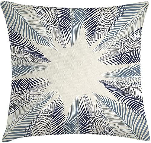 Funda de cojín de hoja de palma, diseño de hojas dibujadas a mano, diseño floral ambiental, funda de almohada cuadrada decorativa, 45,72 x 45,72 cm, color azul pizarra