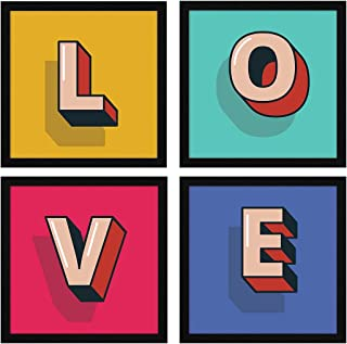 ArtX Paper LOVE Romantic Wall Art Framed Paintings, 21 X 21 inches(Combined), 10.5 X 10.5 each, Alphabets, Multicolor, Set...