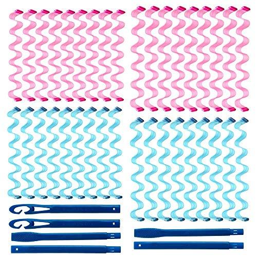 36 pièces Rouleaux à cheveux Kit de coiffure pour bigoudis ondulés à eau Pas de chaleur Rouleaux à bigoudis Migic en spirale pour plupart des types coiffures avec 6 crochets coiffage (45cm et 55cm)