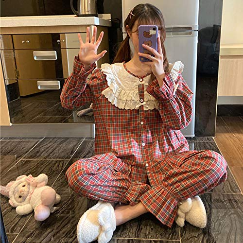 STJDM Camicia da Notte,Pigiama Scozzese Vintage Coreano Set da Donna Fashion Ruffle Sleepwear Casual Mori Girls Outwear Home Suit Medieval Flare Sleeve OneSize Rosso