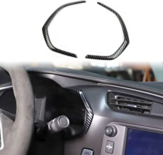 Korlot Carbon Fiber Side Meter Dashboard Cover Trims for Chevrolet Corvette C7 Interior Accessories