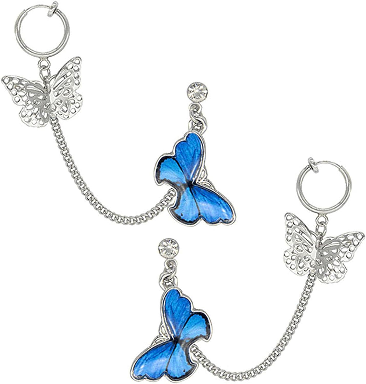 ONLYJUMP Tassel Butterfly Earring Dangling Drop Long Hoop Chain Drop Ear Cuff Clip Earrings for Women Girl Elegant Unique Dangle Hook Vintage Cute Crystal Earrings Valentine Jewelry