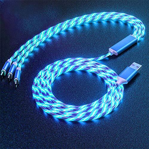 3 en 1 LED resplandor que fluye el cargador USB llevó el cable micro USB tipo C 8 Pin carga para iPhone todo en uno cable