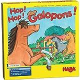 HABA Jeu de courses de chevaux Hop! Hop! Galopons!, pour 2-4 joueurs de 3-12 ans, jouable en 3 variantes, jeu de société avec des règles simples, 5445