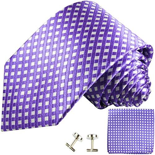 Cravate violet ensemble de cravate 3 Pièces ( 100% Soie Cravate + Mouchoir + Boutons de manchette )