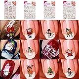 ILOVEDIY 24 Blatt Weihnachten Nagelaufkleber Nailart Sticker Nagel-Abziehbilder selbstklebend - Schnee, Weihnachtsmann