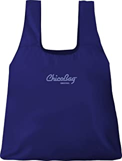 Chicobag Original Compact Reusable Grocery Bag with Attached Pouch and Carabiner Clip - 4 Pack Mazarine Blue