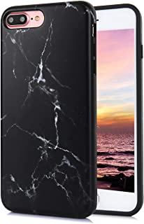TRENSOM iPhone 8 Plus iPhone 7 Plus Case Cute Black Marble Floral Pattern IMD Hybrid Hard TPU Shockproof Phone Cases for Women Girls Men Boys[5.5