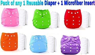 The Little Lookers™ Premium Quality Adjustable & Reusable Baby Washable Cloth Diaper Nappies with Wet-Free Inserts for Babies/Infants/Toddlers |Age 0 to 2 Years|Pack of 1 (Random Color)