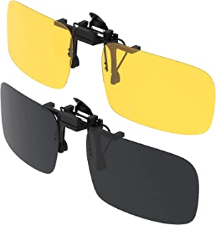 Clip su Occhiali da Sole, Gritin 2 Pezzi Day + Night Vision Occhiali da Sole Lenti Polarizzate da uomo/donna UV400 flip-up...