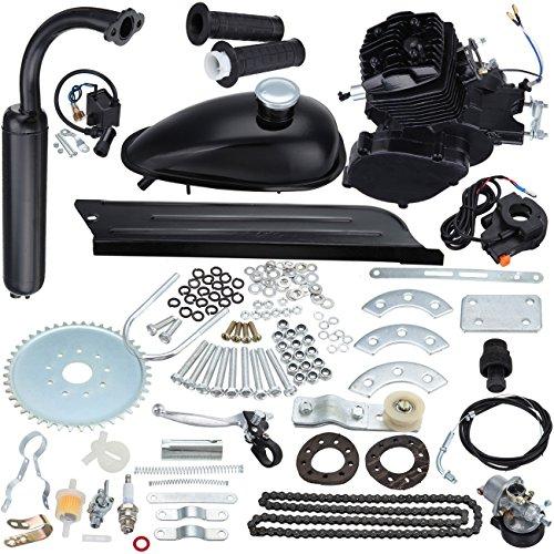 Iglobalbuy Bicycle Engine Kit 2-Stroke Cycle Petrol Gas Motor Engine Kit for Motorized Bicycle 26'/28' Bike (black) (50cc)