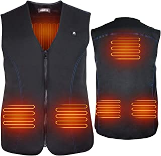 USB Electric Heated Vest, 5V Size Adjustable Women Men Rechargeable Heated Clothing for Fishing Hunting Hiking Camping Black