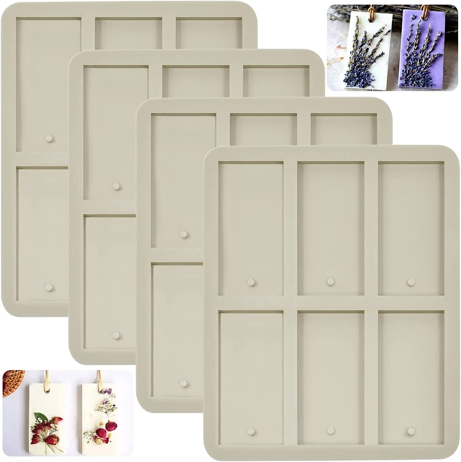 4 Pieces Silicone Wax Molds with At the price M Rectangle Resin ...