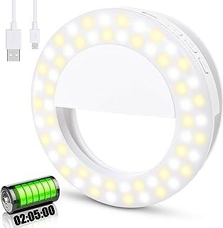 Anillo de luz Selfie, [Mejorada-Larga Duración de la Batería]Diyife 60LED Recargable Selfie Light Clip en Teléfono con 3 M...