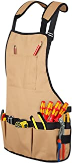 Syntus Professional Work Apron with Pockets Durable Waterproof Adjustable Tool Apron Gardening Woodshop Aprons with Pouche...