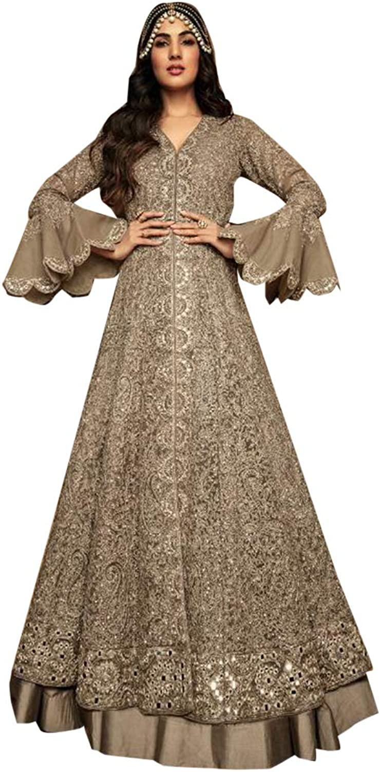 Sage Bollywood Designer Evening Cocktail Net Anarkali Suit Abaya Gown Dress Women Heavy Party wear Bespoke 7962