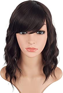 14inch Short Wavy Wigs For Black Women Black Mix Brown Synthetic Curly Hair Wigs With Bangs Shoulder Length Wavy Wigs Heat Resistant Wigs For Party Daily Use (14 Inch,Black mix Brown)