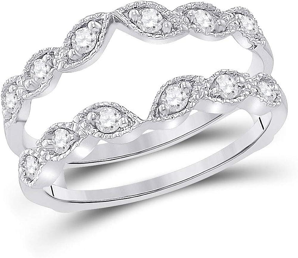14kt White Gold Womens Round Diamond Milgrain Wrap Ring Guard Enhancer 1/3 Cttw