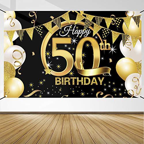 50 Anni Compleanno Festa Decorazioni Oro Nero, 50 Striscione di Compleanno, 50 Anni di Buon Compleanno Decorazione di Festa per Uomo Donna, Poster di Tessuto Sfondo Fotografico 50 Feste di Compleanno