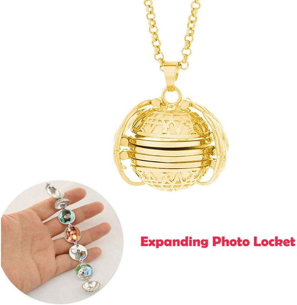 SuperThinker Expanding Photo Locket Necklace Pendant 4 Pictures Frame Gift Jewelry Decoration for Kids,Women,Boys (Gold)