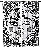 LUOWAN 3D Impresión Digital Cortinas de Opacas Fibra De PoliésterLínea Arte Dios del Sol Dios de la Luna - Aislamiento Térmico Cortinas Sala De Estar Cocina para Sala Cuarto Comedor