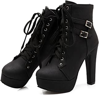 Women Autumn Round Toe Lace Up Ankle Buckle Chunky High Heel Platform Knight Martin Boots
