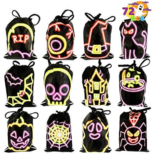 JOYIN 72 Pcs Halloween Drawstring Black Shining Candy Bags, Small Trick or Treat Bags, Plastic Goodie Bags Halloween Party Favors
