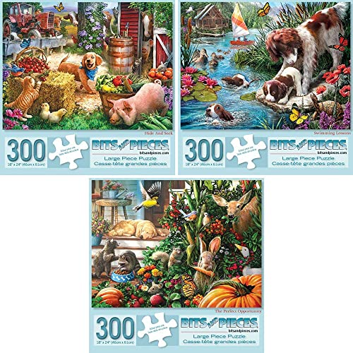 Bits and Pieces - Value Set of Three (3) 300 Piece Jigsaw Puzzles for Adults - Hide and Seek, Swimming Lessons, The Perfect Opportunity Puzzles Measure 18'X24' 300 pc Jigsaws Artist Larry Jones