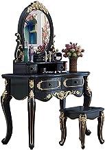Vanity Table Set,Bedroom Villa Furniture Dresser Table,European-Style Solid Wood, Solid Wood Carved,Simple Modern Small St...