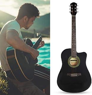 Guitarra Folk, Guitarra Acústica Cutaway de Tamaño Completo de 41 Pulgadas para Principiantes Guitar Tuner Capo Accesorio Kit Paquete de Guitarra Acústica con Estuche