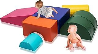Kids Toddler Play Blocks Soft Foam Corner Climber Set, Indoor Activity 6-Piece Playtime Structure for Babies and Preschool...
