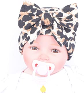 Amiley Newborn Baby Infant Hospital Hat Beanie with Leopard Flower Bow Hat