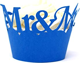 All About Details Mr & Mrs Cupcake Wrappers, Set of 12 (Blue)