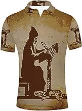 YOLIYANA Peach Durable Polo Shirt,for Men,S